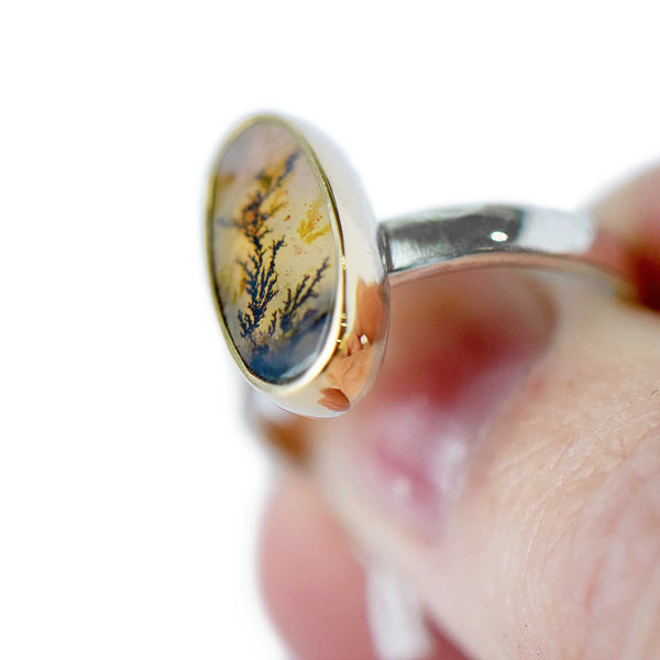 Dendritic Agate Ring | Sterling Silver and 14K Gold | Size 7