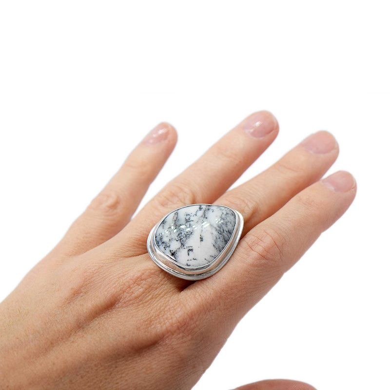 Dendritic Agate Statement Ring Sterling Silver Size 8.5