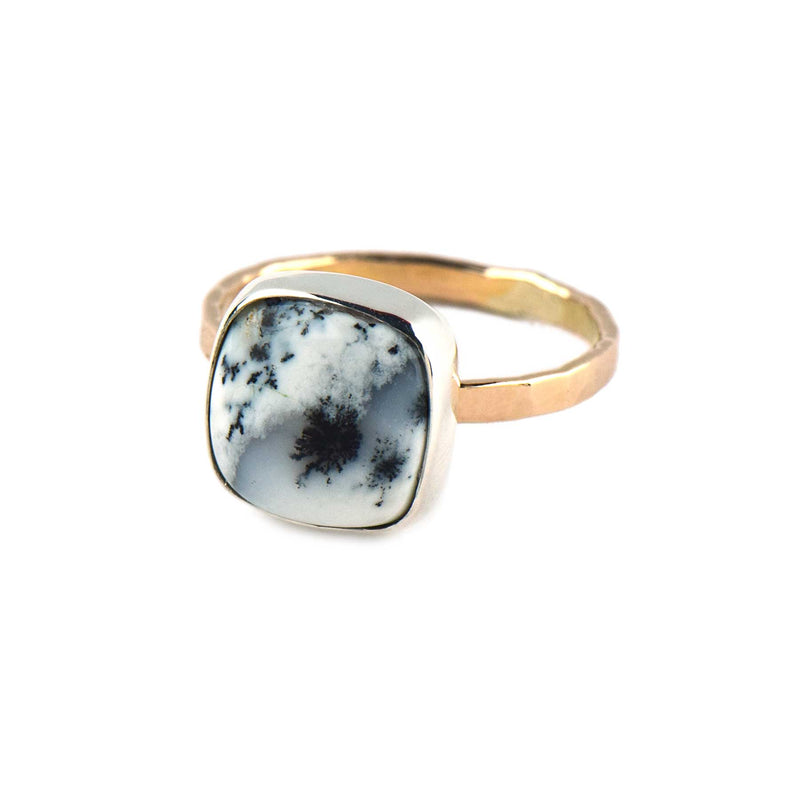 Dendritic Agate Ring Silver and Gold Cushion