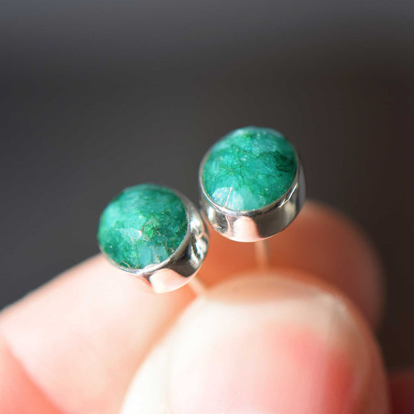 Emerald Oval Rose Cut Sterling Silver Earrings