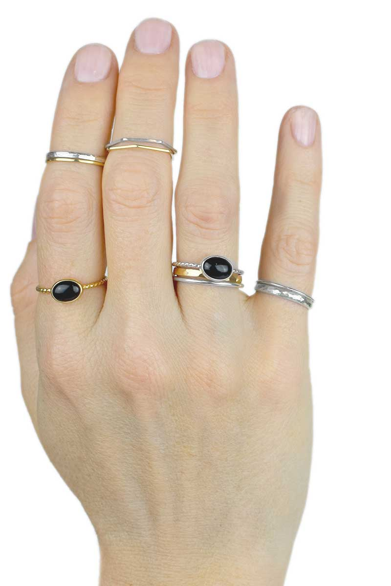 Black Onyx Ring | 14K Gold | Twist Stacking Ring