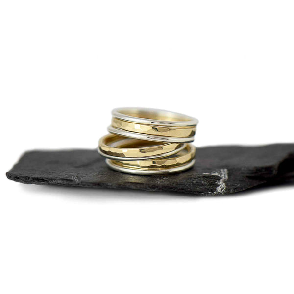 Gold and Sterling Silver Stacking Ring Set