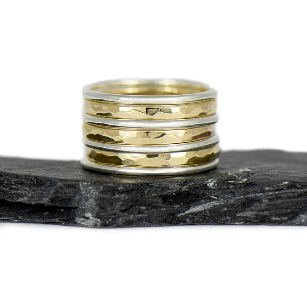 14K Gold and Sterling Silver Stacking Ring Set