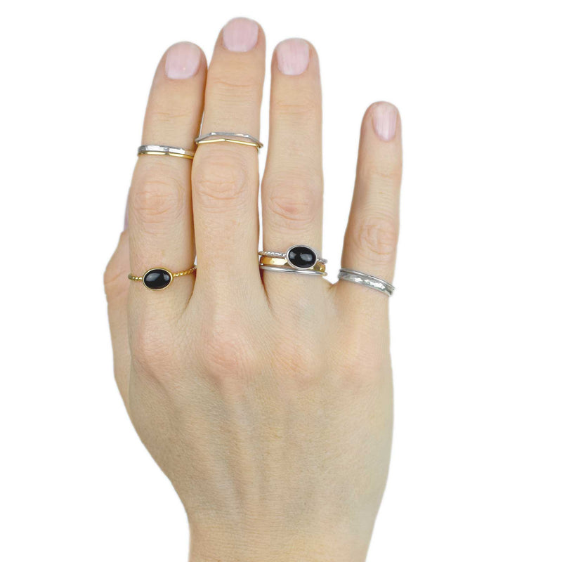 Essentials | Sterling Silver Stacking Ring | Hammered Slimmer