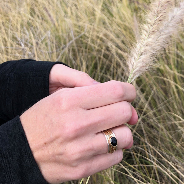 14K Gold and Sterling Silver and Black Onyx | Stacking Ring Set