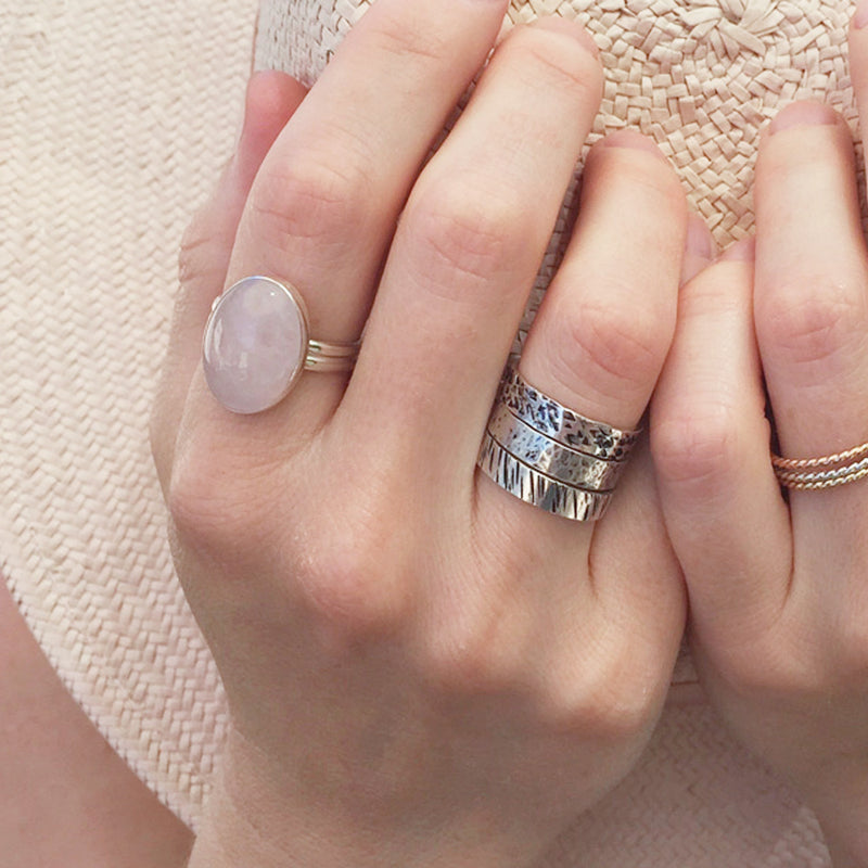 Rose Quartz Ring | Sterling Silver | Double Band