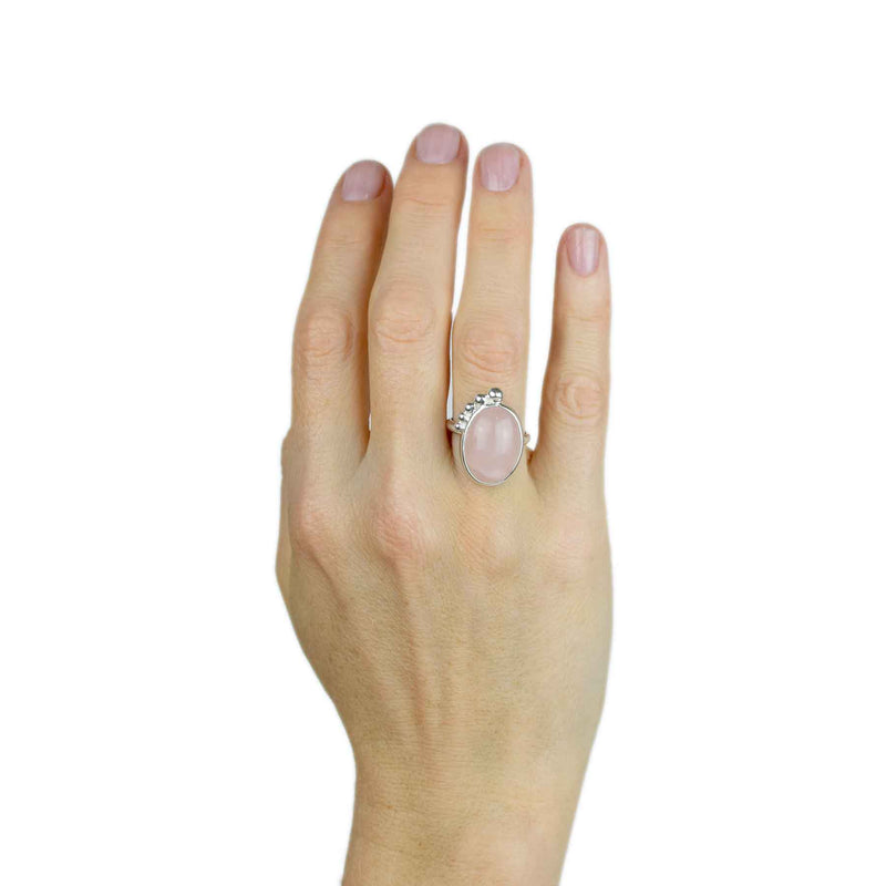 Sterling Silver Rose Quartz Large Oval Ring