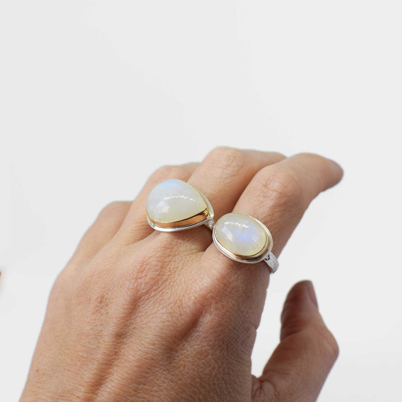 Moonstone Ring | 14K gold and sterling silver | Size 7.5