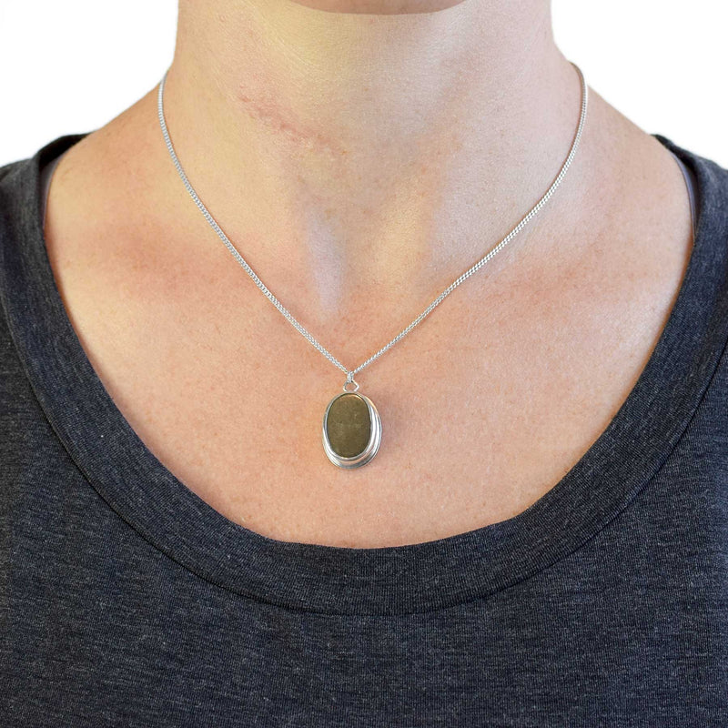 Pyrite Oval Sterling Silver Necklace