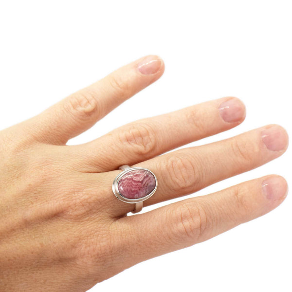 Rhodochrosite Oval Sterling Silver Ring Size 6