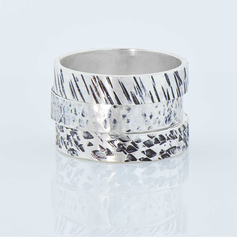 Hammered Sterling Silver Wide Band Rings