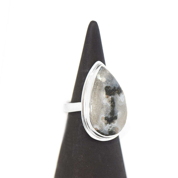 Solar Quartz Statement Ring Sterling Silver Size 6