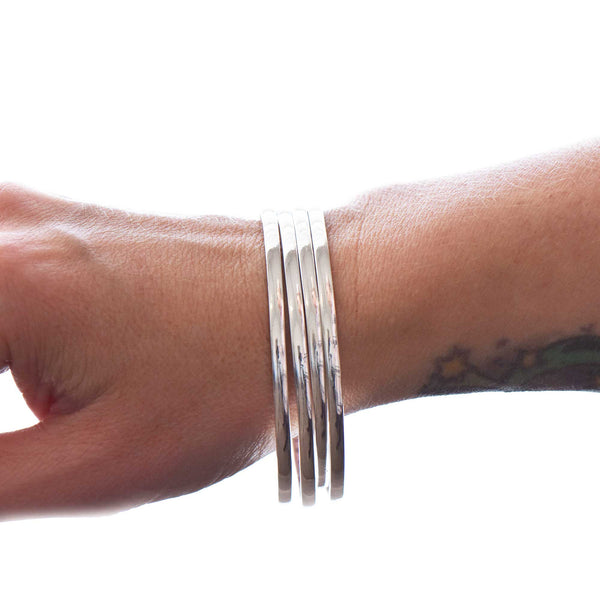 Essentials Sterling Silver Bangle Secret Message