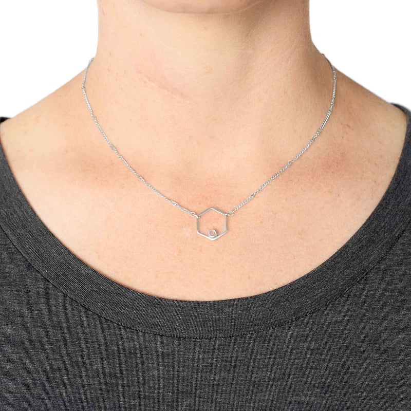 Sterling Silver Rose Quartz Hexagon Necklace