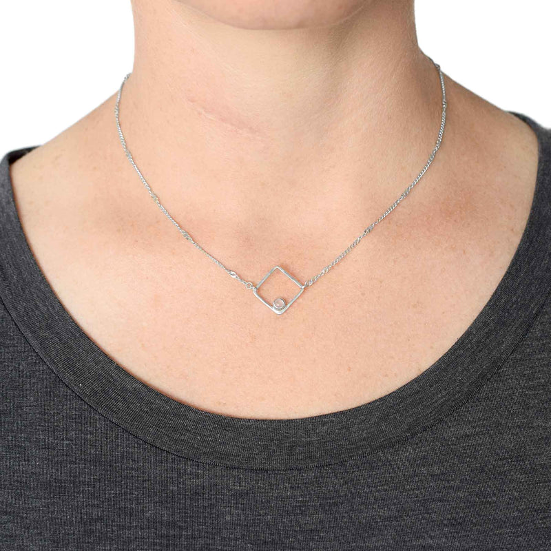 Sterling Silver Rose Quartz Square Necklace
