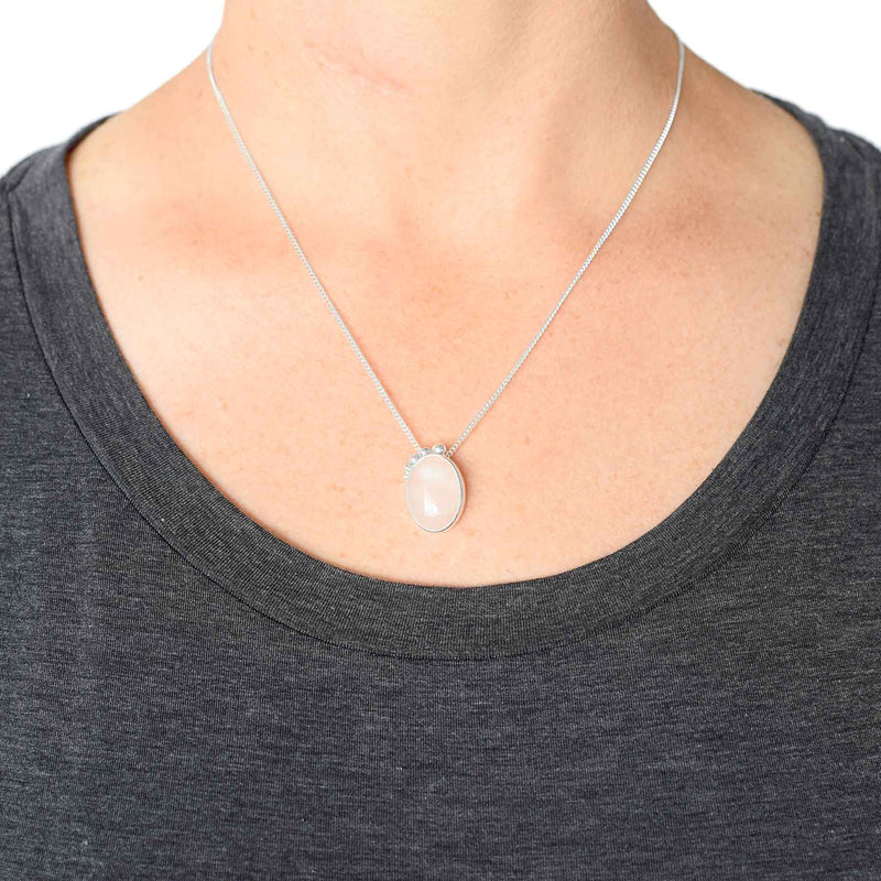 Sterling Silver Rose Quartz Necklace