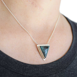 Turquoise Necklace Sterling Silver Large Triangle