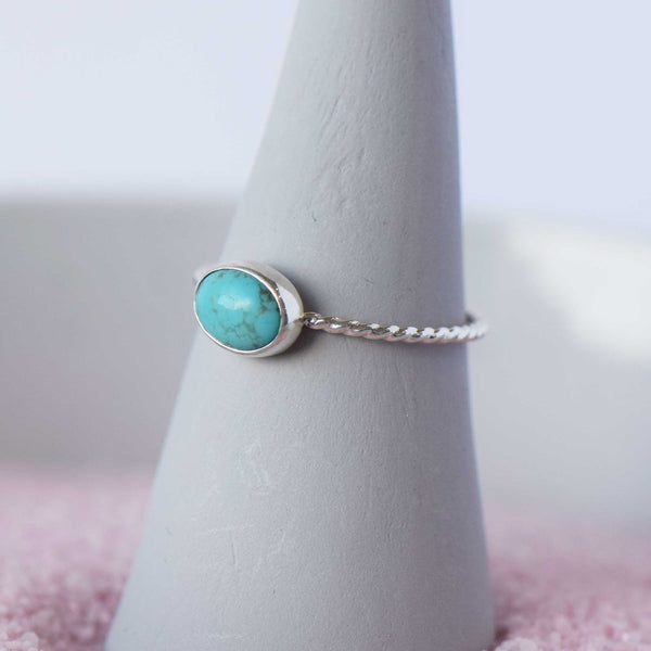 Gemstone Ring | Sterling Silver | Twist Stacking Ring