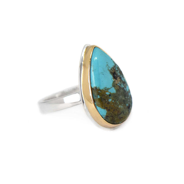 Turquoise Silver and Gold Ring Size 8.5