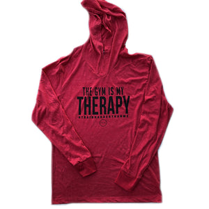 Long Sleeve Hoodie - Red - 'Gym is My Therapy'