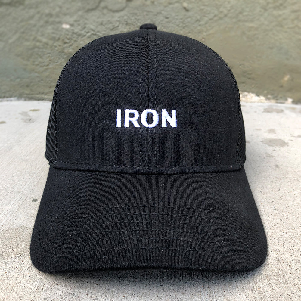 Black 'IRON' Trucker Hat