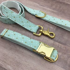 Dotty Mint Handmade Dog Collar