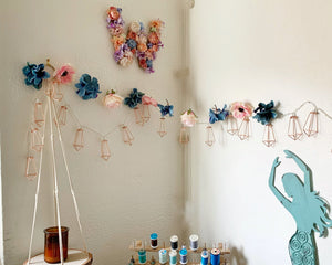 Flower Garland: Coral & Blue