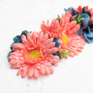 Large Coral & Blue: Collar Flower Accessory