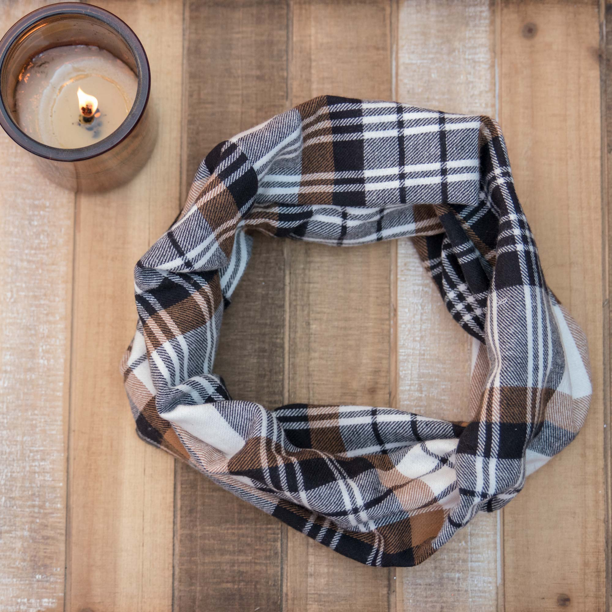 Coffee Plaid Handmade Infinity Scarf