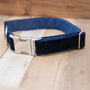 Navy Velvet Handmade Dog Collar