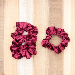 Burgundy Velvet Scrunchie Hair Tie