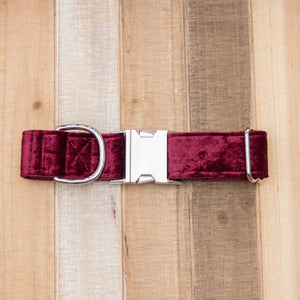 Burgundy Velvet Handmade Dog Collar