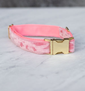 Blush Velvet Handmade Dog Collar