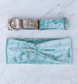 Sea Glass Velvet Ruched Headband