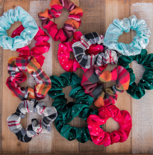 Holiday Sparkle Velvet Scrunchie Hair Tie