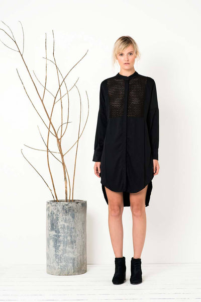 Rise and Fall Shirt Dress in Black
