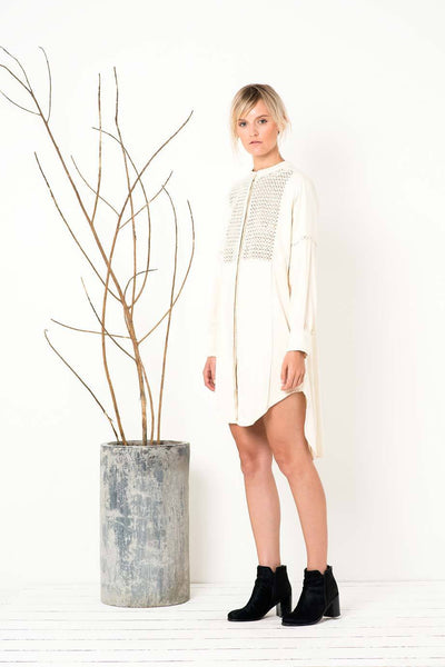 Rise and Fall Shirt Dress  in Ivory
