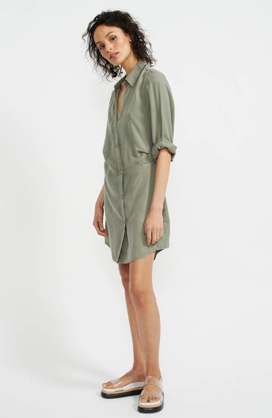 Harper Mini Shirtdress - Khaki