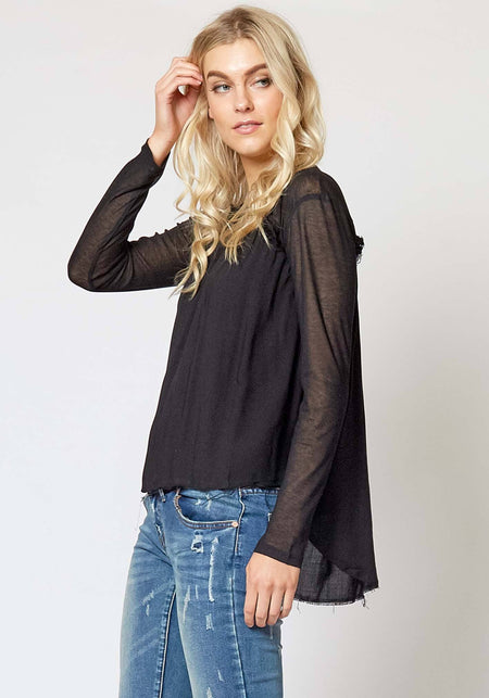 Lola Top in Black Flower