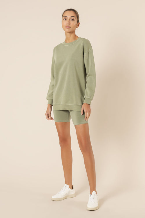 Carter Classic Boyfriend Sweat - Deep Sage