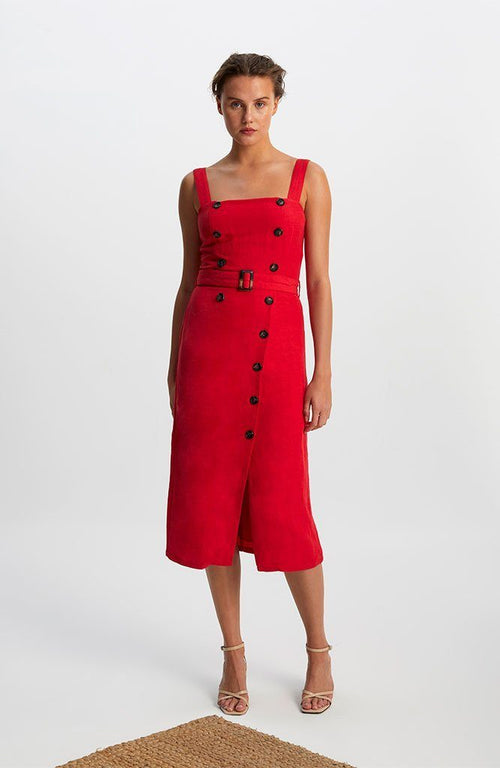 Carmen Belted Midi Dress