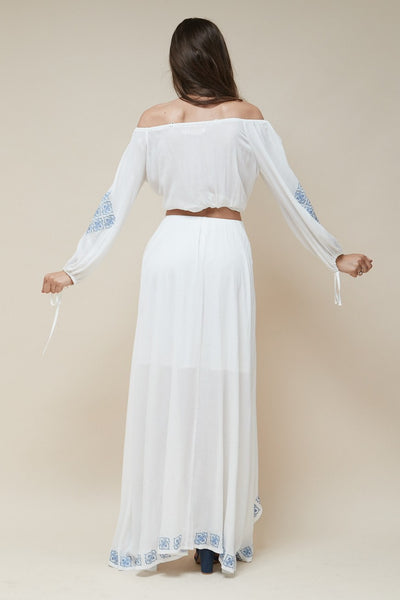 Mykonos Embroidered Off Shoulder Top
