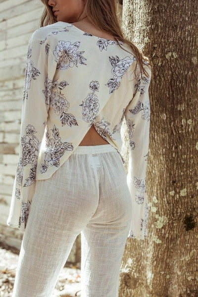 Palms Top / Cream Floral