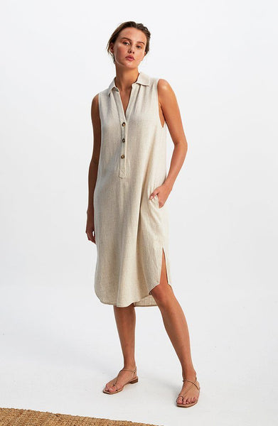 Raffia Midi Shirt Dress