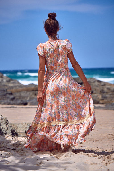 Carmen Maxi Dress - Coral Fields