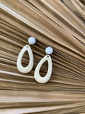 White Wooden Earring