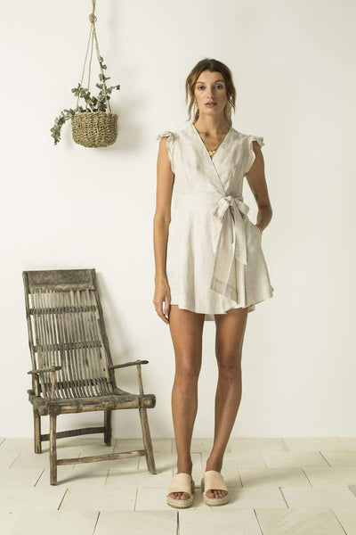 Antonia Wrap Dress - Natural