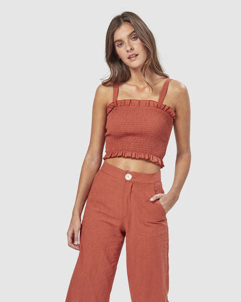 Cha Cha Cropped Top - Rust