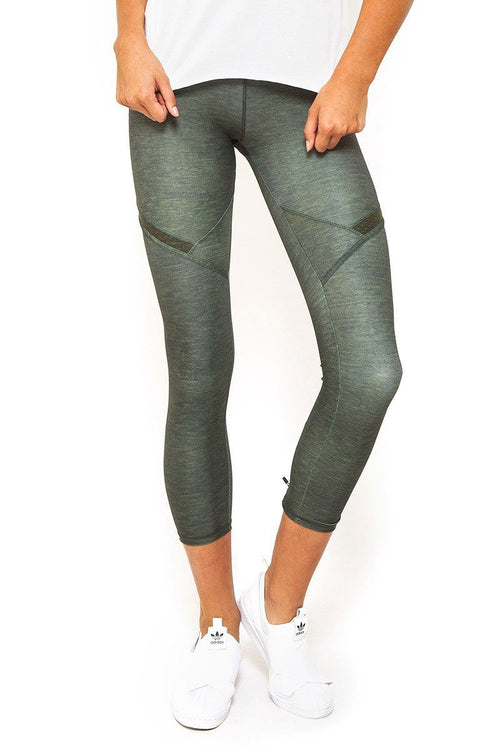 Courtside 7/8 Legging in Khaki Marle