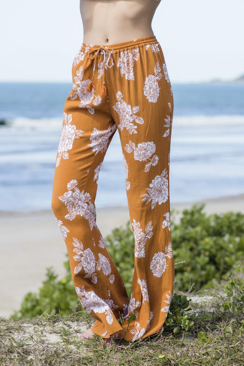 Canyon Bell Pants in Terracotta Floral